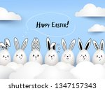 happy easter funny cute rabbits ... | Shutterstock .eps vector #1347157343