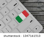 italian flag enter key on white ... | Shutterstock . vector #1347161513