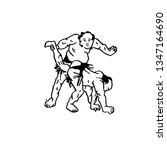 hand drawn illustration of sumo ... | Shutterstock .eps vector #1347164690