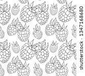 seamless pattern of raspberry...   Shutterstock .eps vector #1347168680