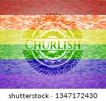 churlish emblem on mosaic... | Shutterstock .eps vector #1347172430