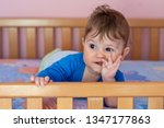 the baby boy lying on his... | Shutterstock . vector #1347177863