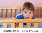 the baby boy lying on his... | Shutterstock . vector #1347177866