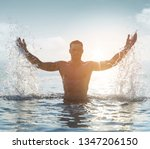 young muscular man on a... | Shutterstock . vector #1347206150