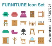 furniture icon set with flat... | Shutterstock .eps vector #1347207329