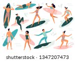 surfing people. surfer standing ... | Shutterstock .eps vector #1347207473