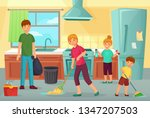 family cleaning kitchen. father ... | Shutterstock .eps vector #1347207503