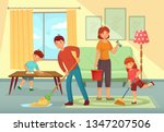 family cleaning house. father ... | Shutterstock .eps vector #1347207506