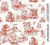 seamless pattern in chinoiserie ... | Shutterstock .eps vector #1347220349