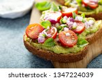 fresh avocado toast with... | Shutterstock . vector #1347224039