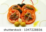 tomato appetizer with anchovy ... | Shutterstock . vector #1347228836