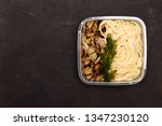 plate with tasty pasta on table ... | Shutterstock . vector #1347230120