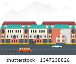 city avenue and old houses   Shutterstock .eps vector #1347238826