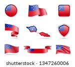 samoa flags collection. flags... | Shutterstock .eps vector #1347260006