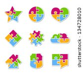 icons made of puzzle pieces ... | Shutterstock .eps vector #134728010