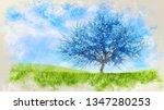 fantasy spring landscape in a... | Shutterstock . vector #1347280253