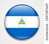 flag of nicaragua. round glossy ... | Shutterstock . vector #1347287669