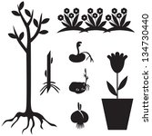 Set Of Silhouette Images Of...
