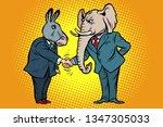 donkey shakes elephant hand.... | Shutterstock .eps vector #1347305033