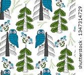 owl on tree scandinavia pattern | Shutterstock .eps vector #1347314729