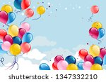 festive frame with balloons and ... | Shutterstock .eps vector #1347332210