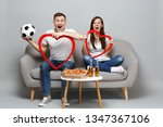 excited couple woman man... | Shutterstock . vector #1347367106
