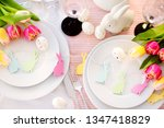 beautiful table setting with... | Shutterstock . vector #1347418829