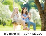 two cute sisters having fun on... | Shutterstock . vector #1347421280