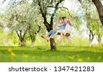 two cute sisters having fun on... | Shutterstock . vector #1347421283