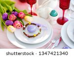 beautiful table setting with... | Shutterstock . vector #1347421340