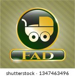 shiny emblem with baby cart... | Shutterstock .eps vector #1347463496