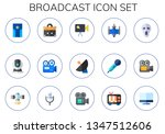 broadcast icon set. 15 flat... | Shutterstock .eps vector #1347512606