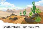 Sandy Desert  Saguaro Cactus...