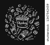 chicken wings bucket.... | Shutterstock .eps vector #1347542459