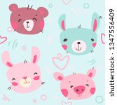 cute animals hand drawn... | Shutterstock .eps vector #1347556409