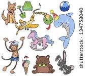 hand drawn childish toys | Shutterstock .eps vector #134758040