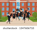 happy graduates jump and... | Shutterstock .eps vector #1347606710