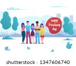 smiling young hugging friends.... | Shutterstock .eps vector #1347606740