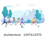 group of people running in city ... | Shutterstock .eps vector #1347613370