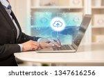 business woman in homey...   Shutterstock . vector #1347616256