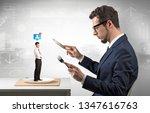 giant businessman eating small...   Shutterstock . vector #1347616763