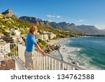 young man on terrace looks at... | Shutterstock . vector #134762588