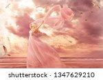 Woman Portrait In Long Dress O...