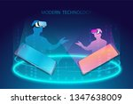 virtual meetings with visual...   Shutterstock .eps vector #1347638009
