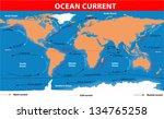 the ocean currents. vector map | Shutterstock .eps vector #134765258