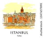 galata tower  istanbul  turkey  ... | Shutterstock .eps vector #1347657890