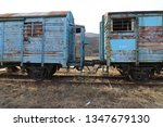 abandoned old railway wagons at ... | Shutterstock . vector #1347679130