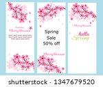 cherry blossoms  spring flower... | Shutterstock .eps vector #1347679520