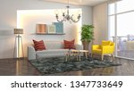 interior of the living room. 3d ... | Shutterstock . vector #1347733649