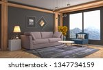 interior of the living room. 3d ... | Shutterstock . vector #1347734159